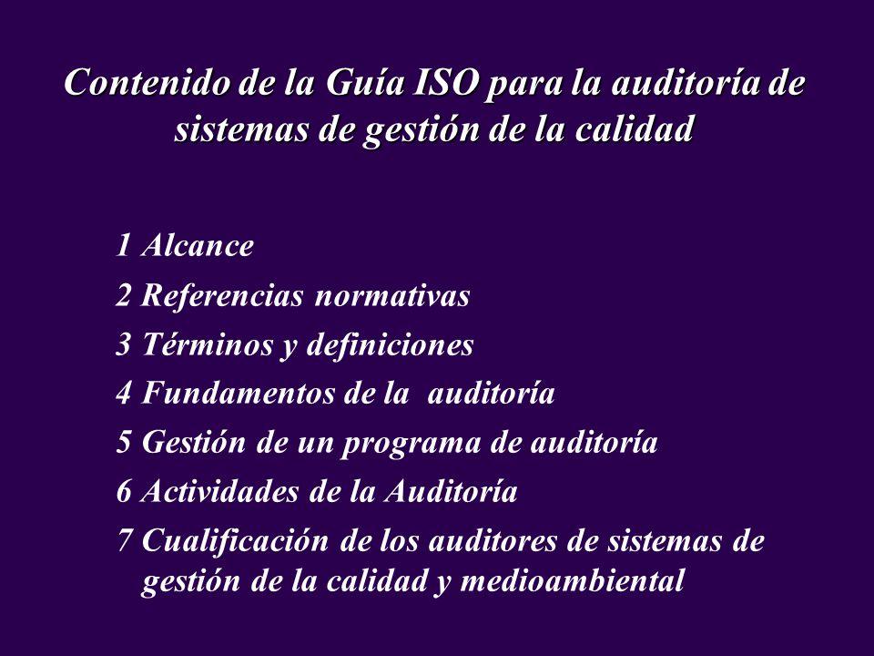 Contenido de la Guía ISO para la auditoría de sistemas de gestión de la calidad 1 Alcance 2 Referencias normativas 3 Términos y definiciones 4 Fundame