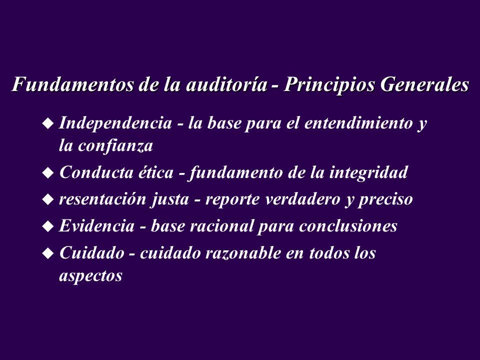 u Independencia - la base para el entendimiento y la confianza u Conducta ética - fundamento de la integridad u resentación justa - reporte verdadero