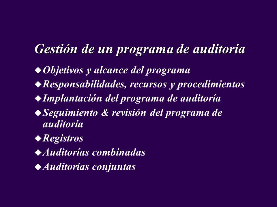 Gestión de un programa de auditoría u Objetivos y alcance del programa u Responsabilidades, recursos y procedimientos u Implantación del programa de a