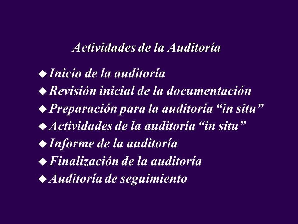 u Inicio de la auditoría u Revisión inicial de la documentación u Preparación para la auditoría in situ u Actividades de la auditoría in situ u Inform