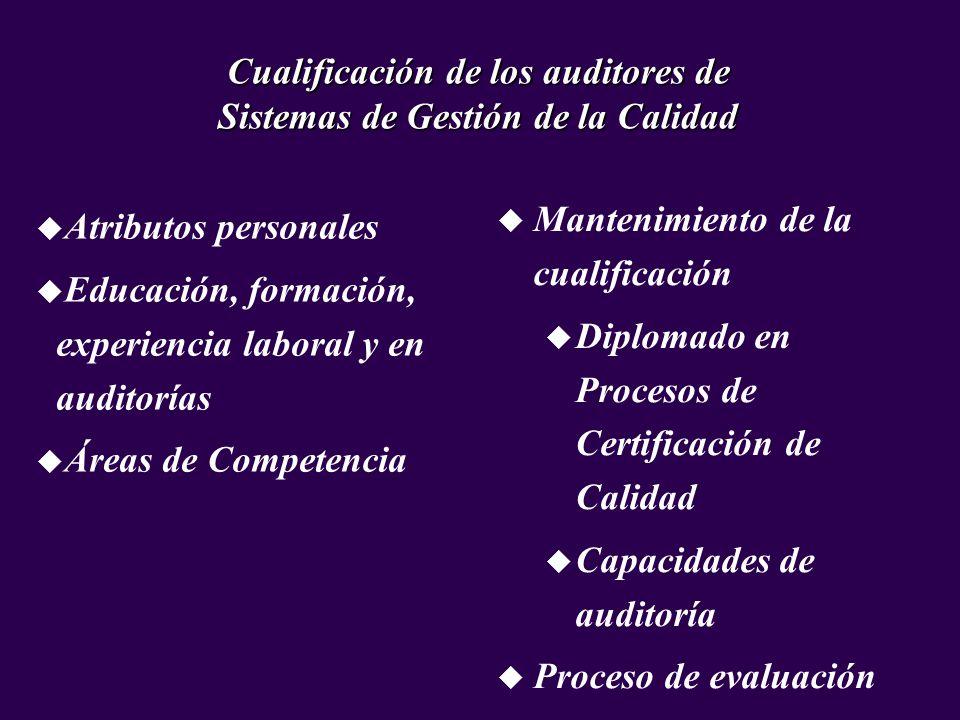 u Atributos personales u Educación, formación, experiencia laboral y en auditorías u Áreas de Competencia Cualificación de los auditores de Sistemas d