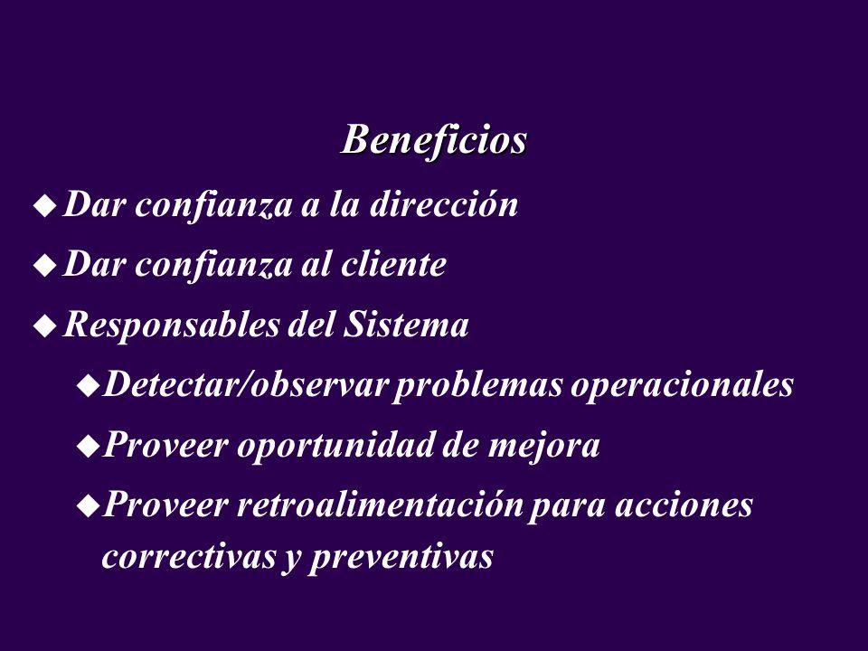 Beneficios u Dar confianza a la dirección u Dar confianza al cliente u Responsables del Sistema u Detectar/observar problemas operacionales u Proveer
