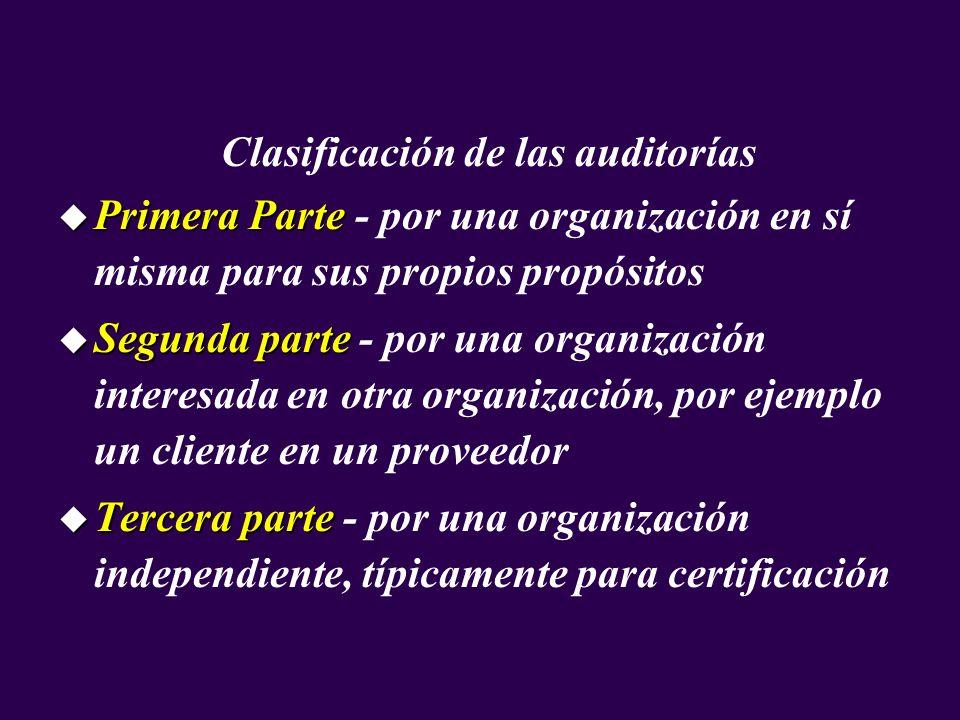 Clasificación de las auditorías u Primera Parte u Primera Parte - por una organización en sí misma para sus propios propósitos u Segunda parte u Segun