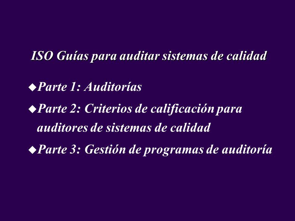 ISO Guías para auditar sistemas de calidad u Parte 1: Auditorías u Parte 2: Criterios de calificación para auditores de sistemas de calidad u Parte 3: