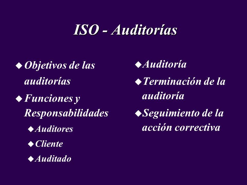 u Objetivos de las auditorías u Funciones y Responsabilidades u Auditores u Cliente u Auditado ISO - Auditorías u Auditoría u Terminación de la audito
