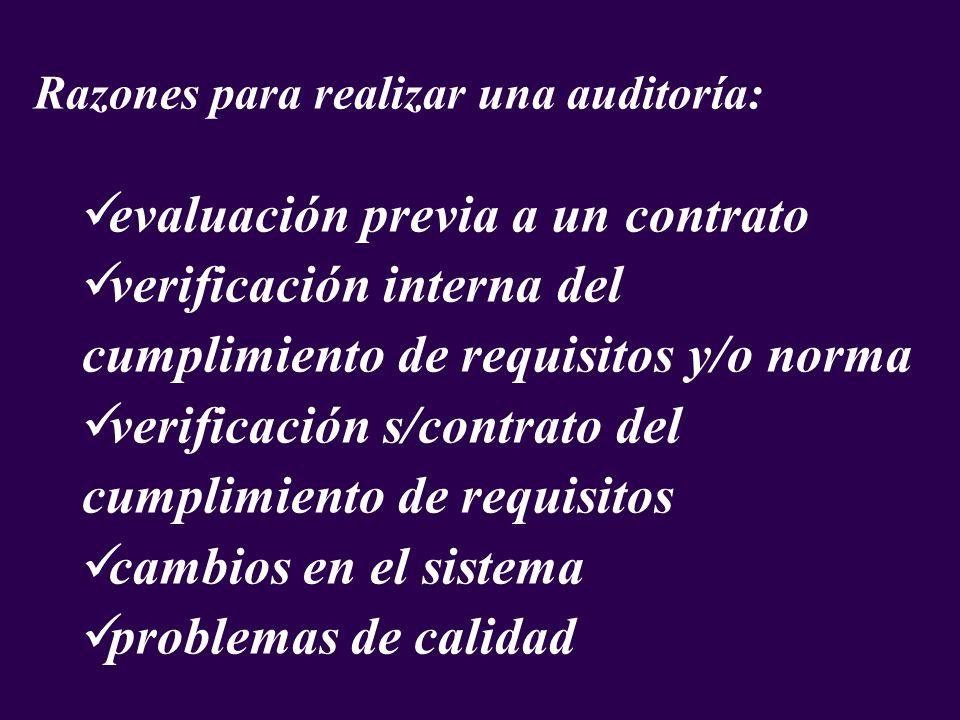 Razones para realizar una auditoría: evaluación previa a un contrato verificación interna del cumplimiento de requisitos y/o norma verificación s/cont