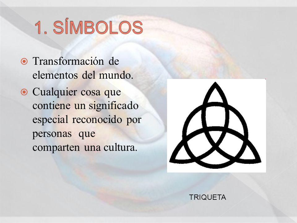 Transformación de elementos del mundo. Cualquier cosa que contiene un significado especial reconocido por personas que comparten una cultura. TRIQUETA