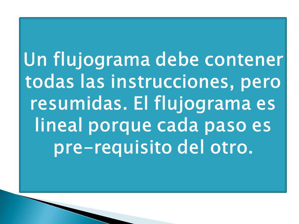 Un flujograma debe contener todas las instrucciones, pero resumidas. El flujograma es lineal porque cada paso es pre-requisito del otro.
