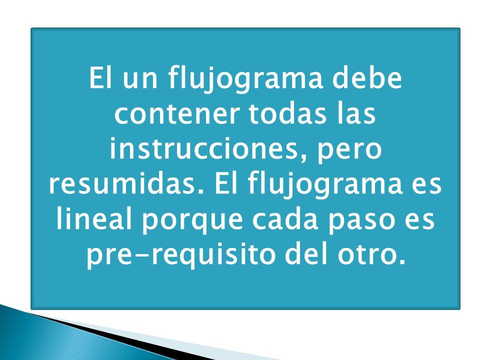 El un flujograma debe contener todas las instrucciones, pero resumidas. El flujograma es lineal porque cada paso es pre-requisito del otro.