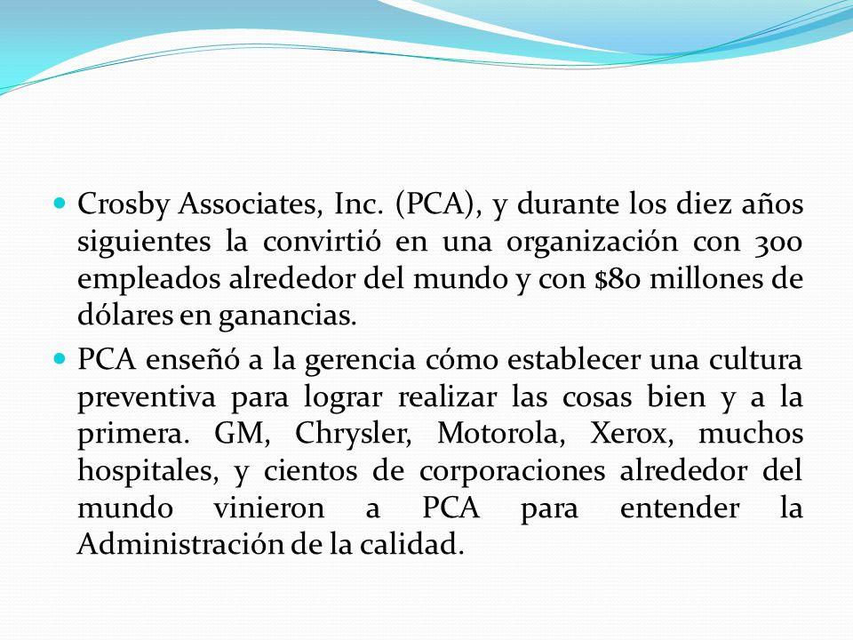 Crosby Associates, Inc. (PCA), y durante los diez años siguientes la convirtió en una organización con 300 empleados alrededor del mundo y con $80 mil