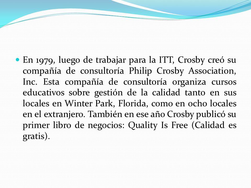 En 1979, luego de trabajar para la ITT, Crosby creó su compañía de consultoría Philip Crosby Association, Inc. Esta compañía de consultoría organiza c