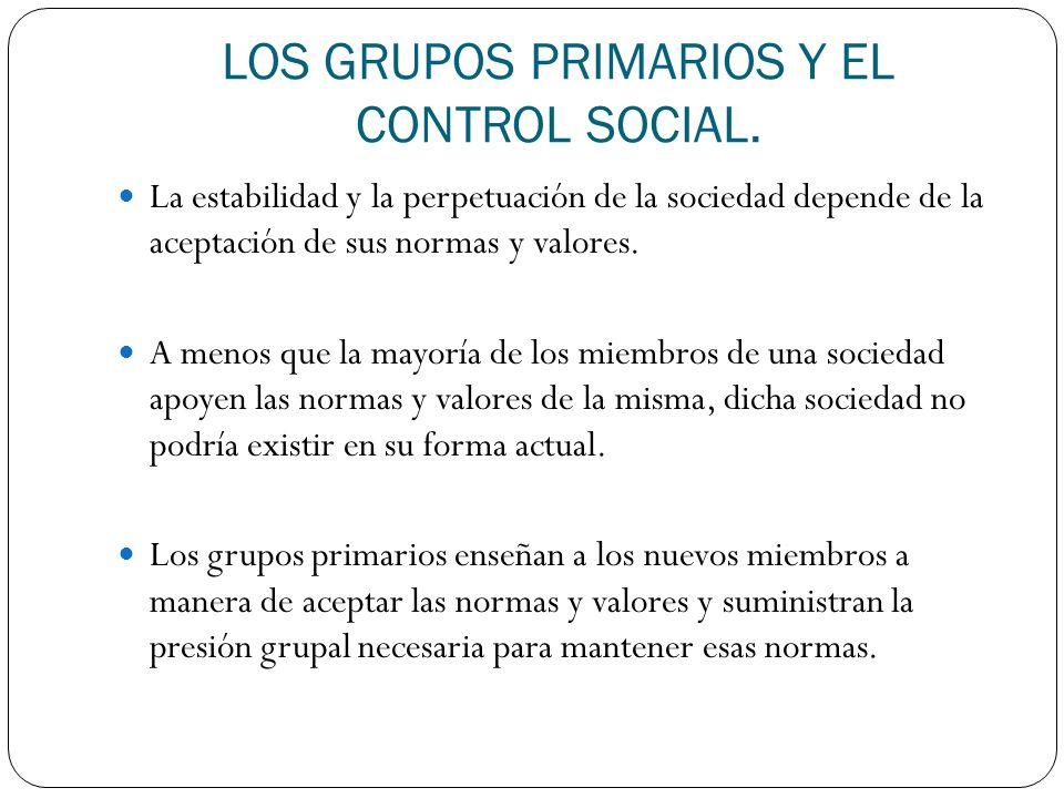 LOS GRUPOS PRIMARIOS Y EL CONTROL SOCIAL. La estabilidad y la perpetuación de la sociedad depende de la aceptación de sus normas y valores. A menos qu