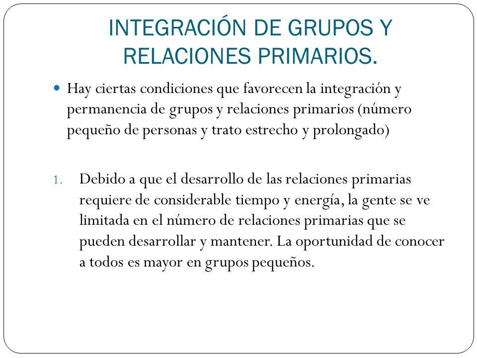 INTEGRACIÓN DE GRUPOS Y RELACIONES PRIMARIOS. Hay ciertas condiciones que favorecen la integración y permanencia de grupos y relaciones primarios (núm