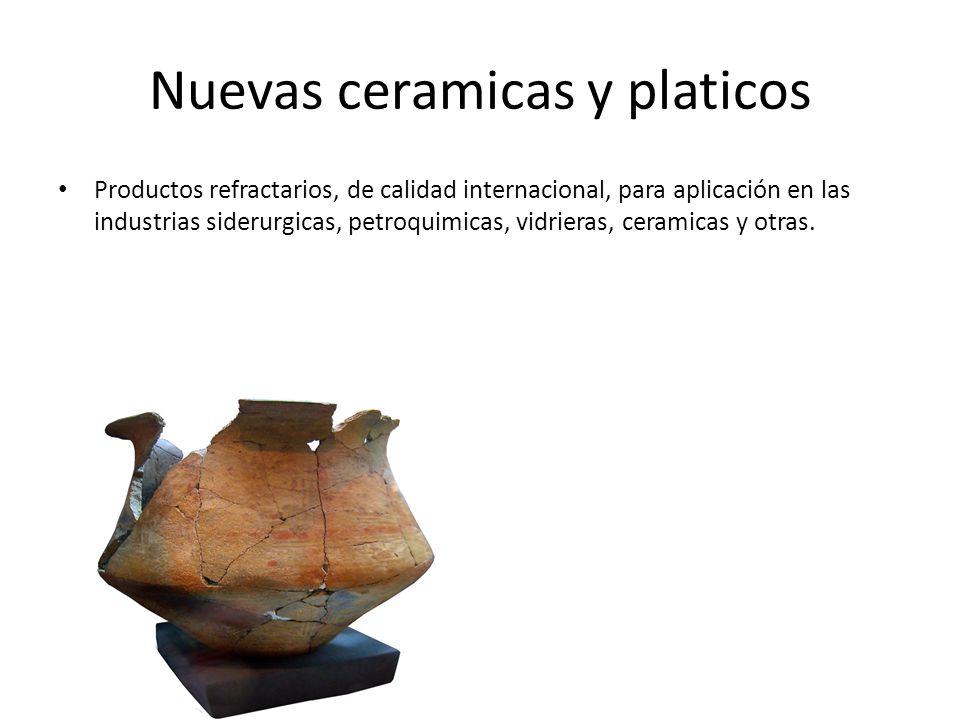 Nuevas ceramicas y platicos Productos refractarios, de calidad internacional, para aplicación en las industrias siderurgicas, petroquimicas, vidrieras