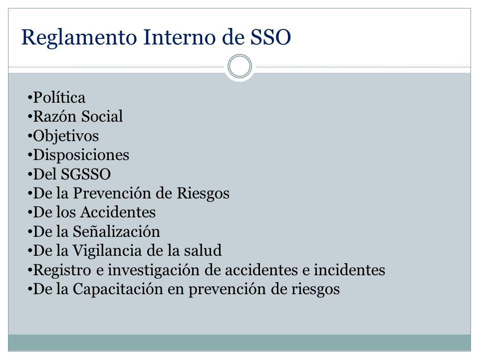 Política Razón Social Objetivos Disposiciones Del SGSSO De la Prevención de Riesgos De los Accidentes De la Señalización De la Vigilancia de la salud