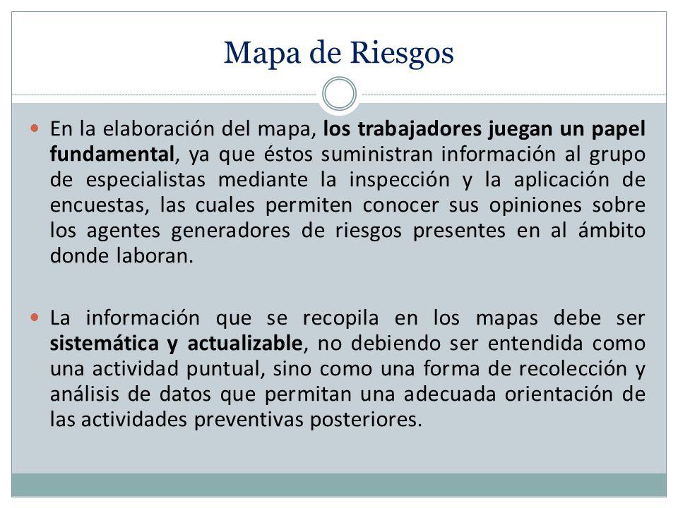 Mapa de Riesgos En la elaboración del mapa, los trabajadores juegan un papel fundamental, ya que éstos suministran información al grupo de especialist