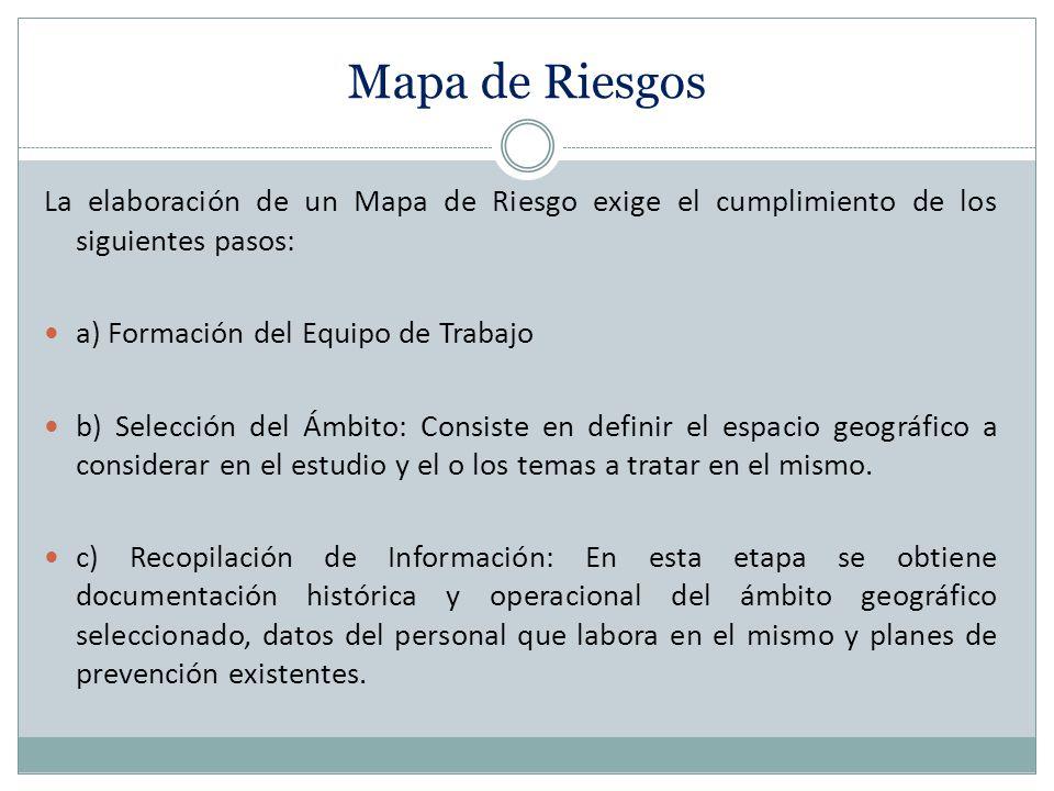 Mapa de Riesgos La elaboración de un Mapa de Riesgo exige el cumplimiento de los siguientes pasos: a) Formación del Equipo de Trabajo b) Selección del