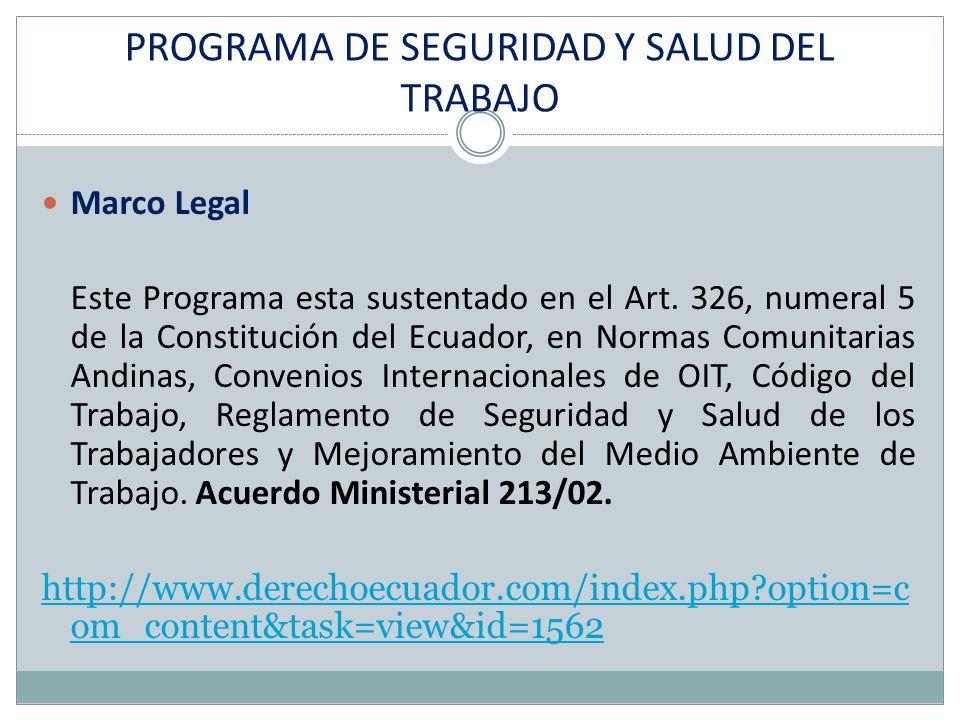 Marco Legal Este Programa esta sustentado en el Art. 326, numeral 5 de la Constitución del Ecuador, en Normas Comunitarias Andinas, Convenios Internac