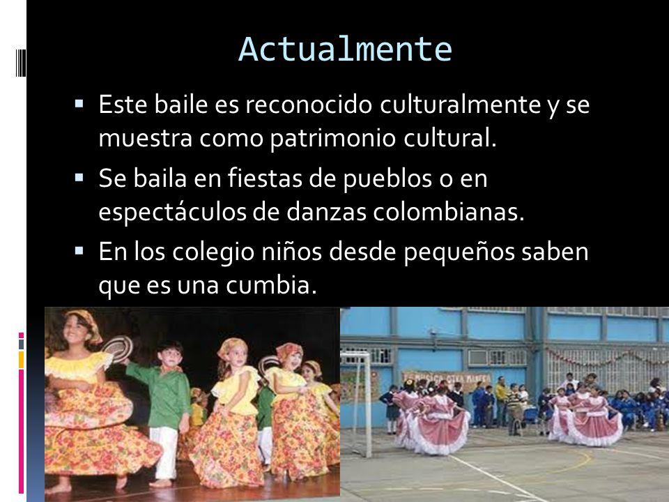 Actualmente Este baile es reconocido culturalmente y se muestra como patrimonio cultural. Se baila en fiestas de pueblos o en espectáculos de danzas c