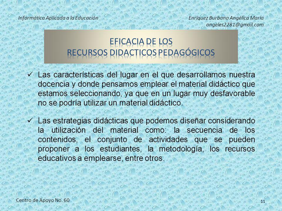 Informática Aplicada a la EducaciónEnríquez Burbano Angélica María angeles2281@gmail.com Centro de Apoyo No. 60 10 Los contenidos que se van a tratar