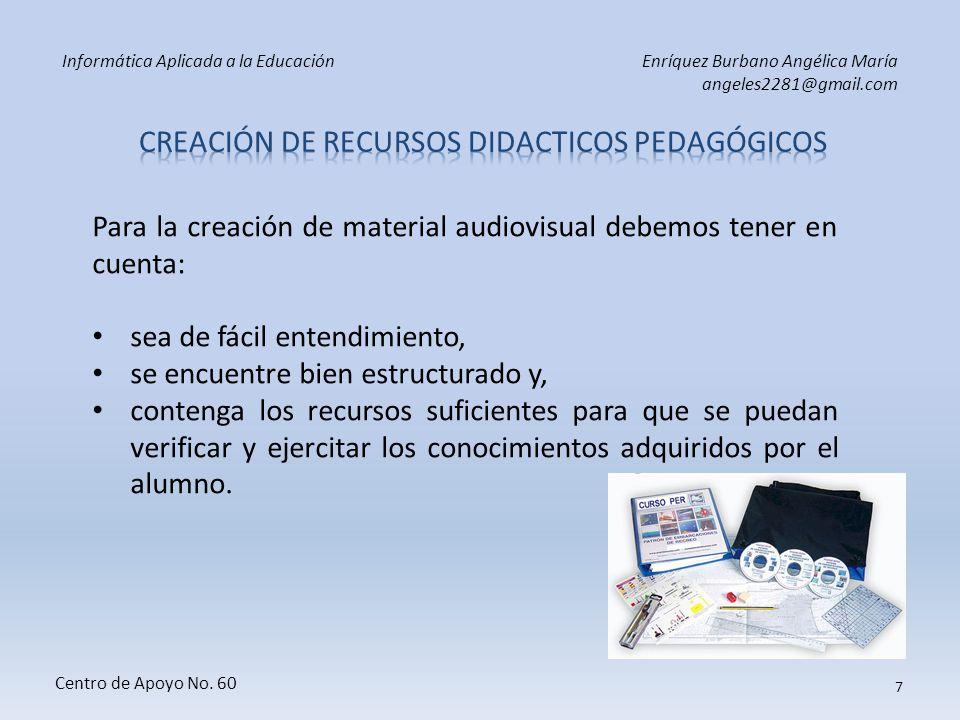 Informática Aplicada a la EducaciónEnríquez Burbano Angélica María angeles2281@gmail.com Centro de Apoyo No. 60 6 TECNOLÓGICOS Necesita de la interven