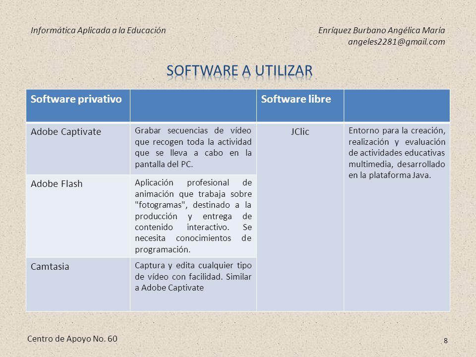 Informática Aplicada a la EducaciónEnríquez Burbano Angélica María angeles2281@gmail.com Centro de Apoyo No. 60 7 Para la creación de material audiovi