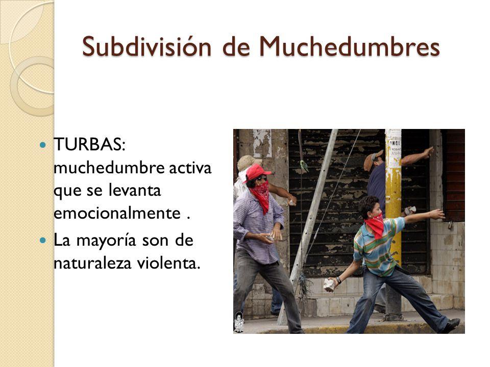 Subdivisión de Muchedumbres TURBAS: muchedumbre activa que se levanta emocionalmente. La mayoría son de naturaleza violenta.