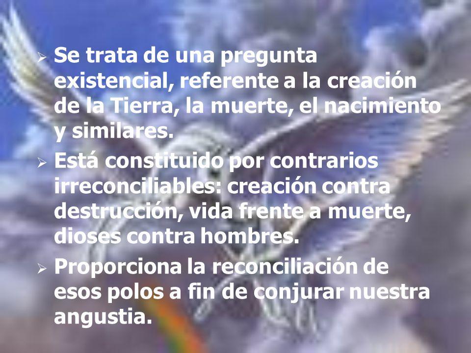 Se trata de una pregunta existencial, referente a la creación de la Tierra, la muerte, el nacimiento y similares. Está constituido por contrarios irre
