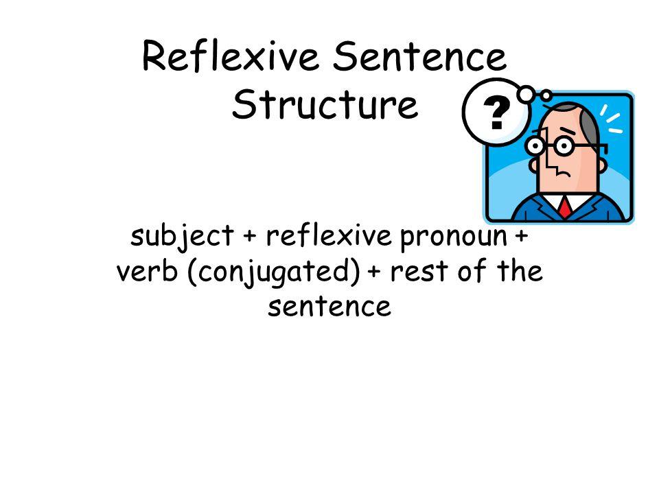 Reflexive Sentence Structure subject + reflexive pronoun + verb (conjugated) + rest of the sentence