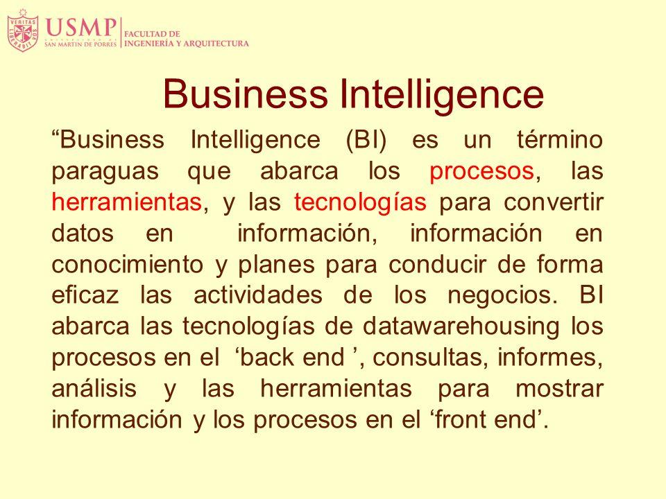 Business Intelligence Business Intelligence (BI) es un término paraguas que abarca los procesos, las herramientas, y las tecnologías para convertir datos en información, información en conocimiento y planes para conducir de forma ecaz las actividades de los negocios.