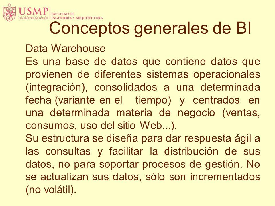 Data Warehouse Es una base de datos que contiene datos que provienen de diferentes sistemas operacionales (integración), consolidados a una determinada fecha (variante en el tiempo) y centrados en una determinada materia de negocio (ventas, consumos, uso del sitio Web...).