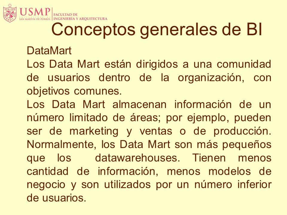 Conceptos generales de BI DataMart Los Data Mart están dirigidos a una comunidad de usuarios dentro de la organización, con objetivos comunes.