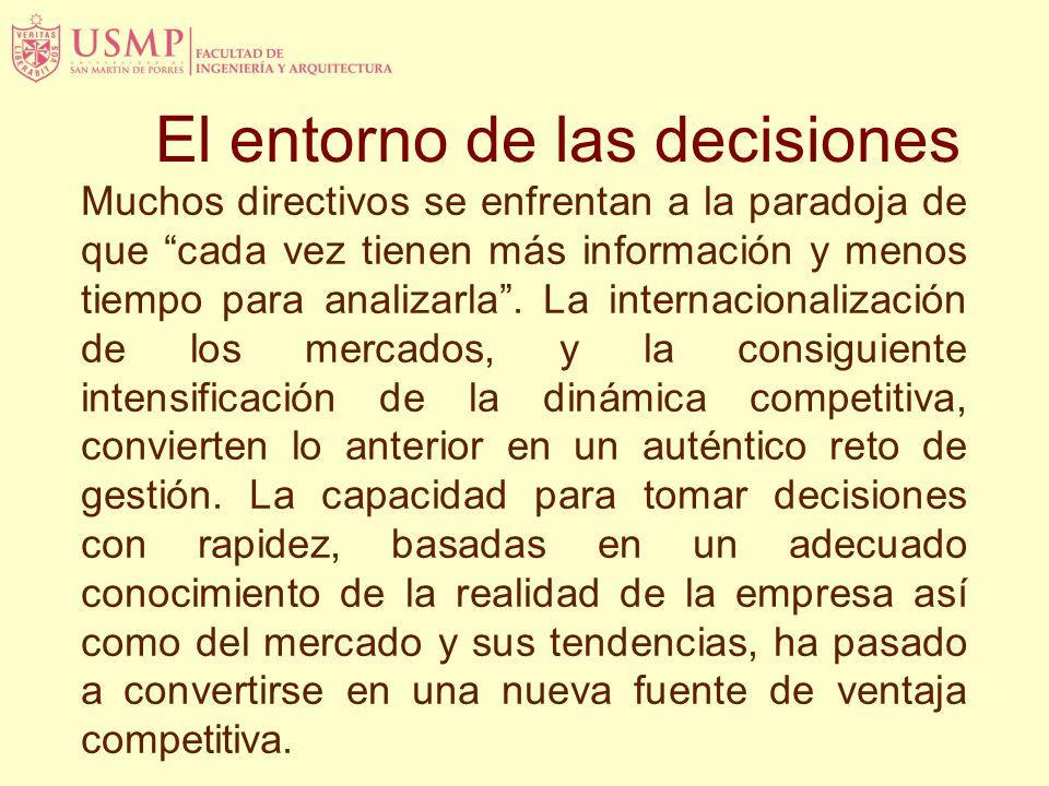 El entorno de las decisiones Muchos directivos se enfrentan a la paradoja de que cada vez tienen más información y menos tiempo para analizarla.