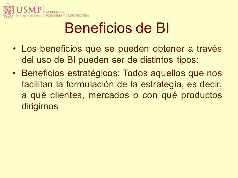 Beneficios de BI Los beneficios que se pueden obtener a través del uso de BI pueden ser de distintos tipos: Beneficios estratégicos: Todos aquellos que nos facilitan la formulación de la estrategia, es decir, a qué clientes, mercados o con qué productos dirigirnos