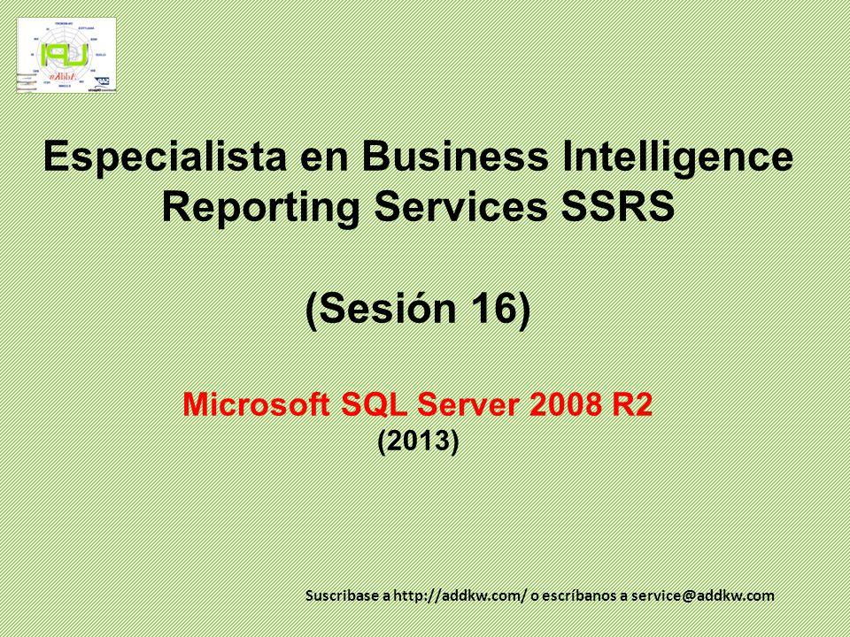 Especialista en BI (SSRS) Agenda SQL Server Reporting Services Conceptos Definición de Reporting Services Arquitectura SSRS Diseñador de reportes Proyectos de reportes Conexiones y origenes de datos Programas de asistencia para la creación de proyectos de reportes y para la creación de reportes.