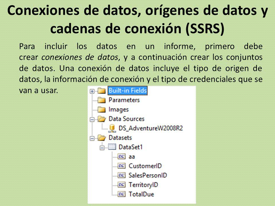 Para incluir los datos en un informe, primero debe crear conexiones de datos, y a continuación crear los conjuntos de datos. Una conexión de datos inc