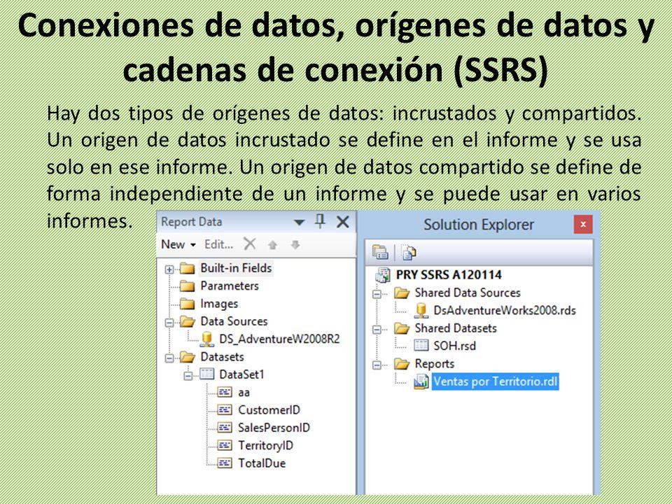 Hay dos tipos de orígenes de datos: incrustados y compartidos. Un origen de datos incrustado se define en el informe y se usa solo en ese informe. Un