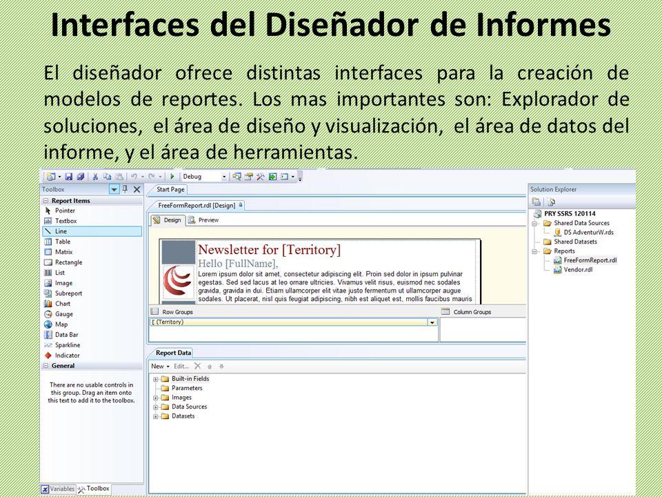 El diseñador ofrece distintas interfaces para la creación de modelos de reportes. Los mas importantes son: Explorador de soluciones, el área de diseño