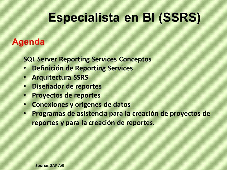 Especialista en BI (SSRS) Agenda SQL Server Reporting Services Conceptos Definición de Reporting Services Arquitectura SSRS Diseñador de reportes Proy