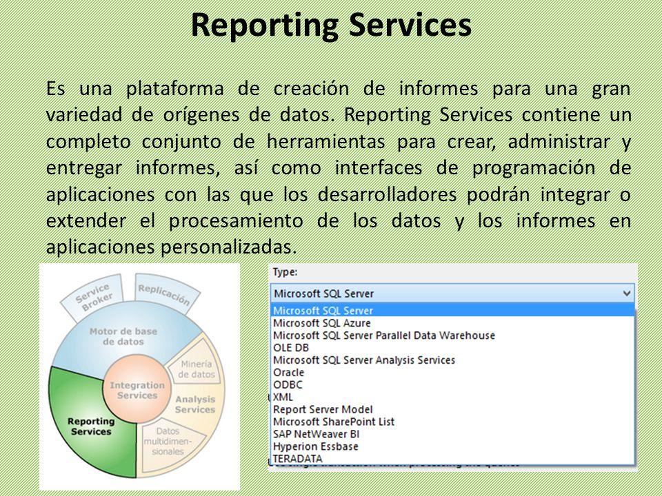 Es una plataforma de creación de informes para una gran variedad de orígenes de datos. Reporting Services contiene un completo conjunto de herramienta