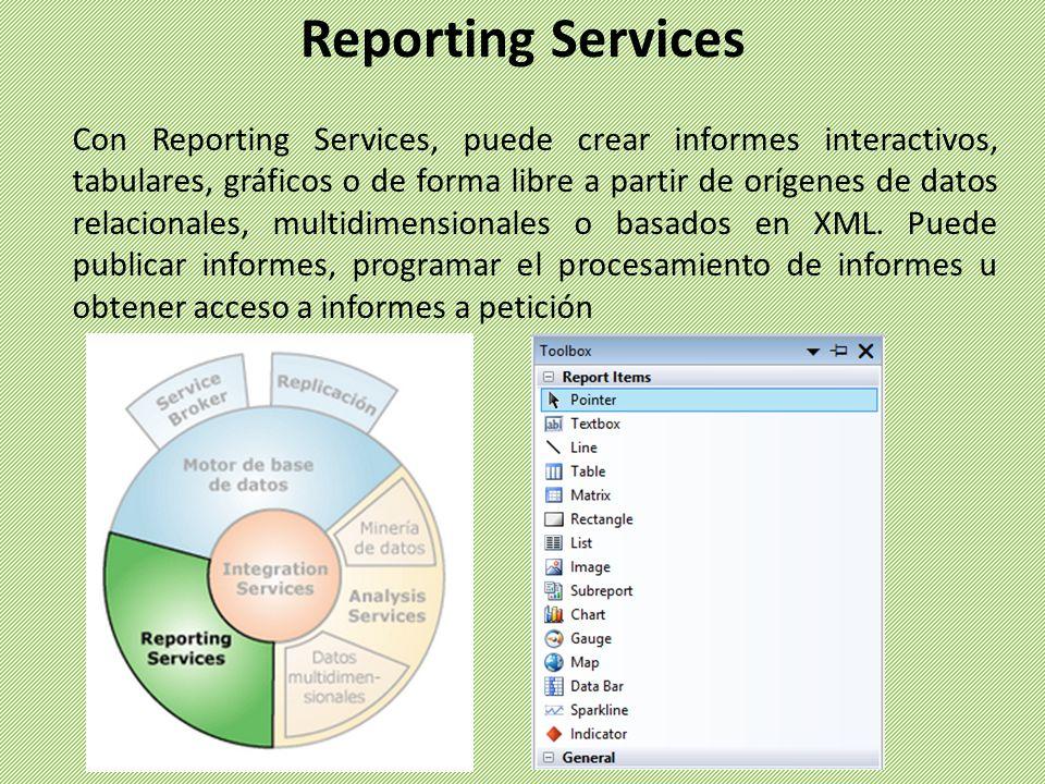 Con Reporting Services, puede crear informes interactivos, tabulares, gráficos o de forma libre a partir de orígenes de datos relacionales, multidimen