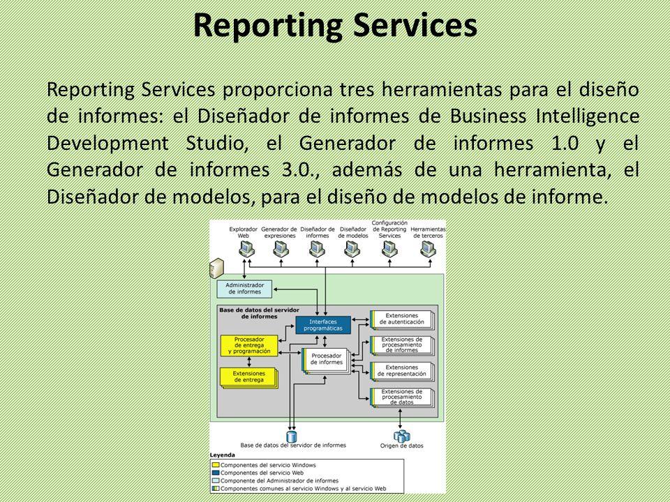Reporting Services proporciona tres herramientas para el diseño de informes: el Diseñador de informes de Business Intelligence Development Studio, el