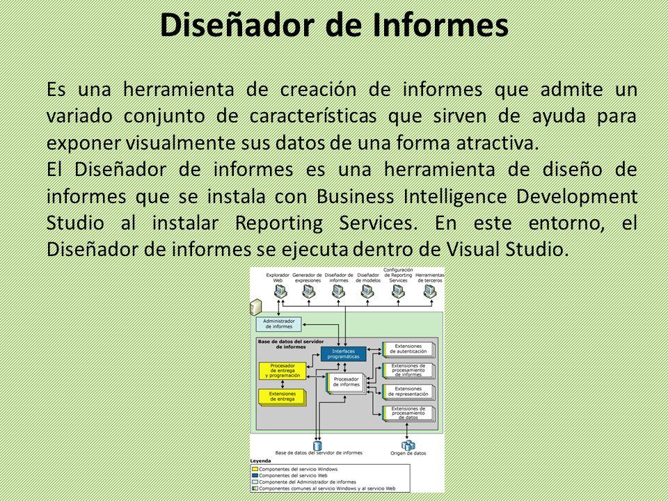 El Diseñador de informes obtiene acceso a muchos tipos diferentes de orígenes de datos y crea informes muy personalizados.