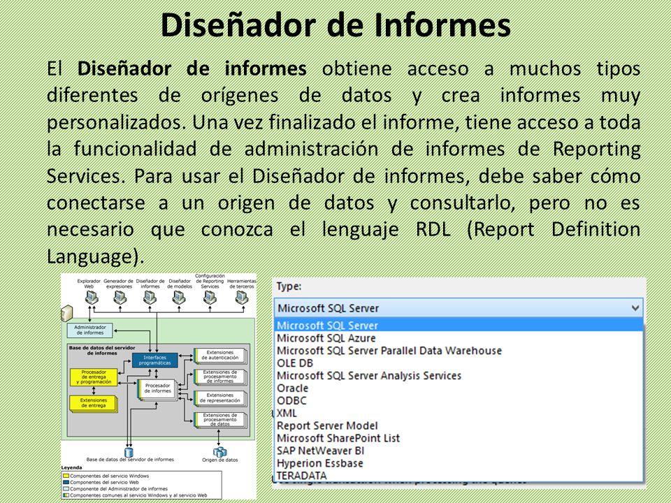 El Diseñador de informes obtiene acceso a muchos tipos diferentes de orígenes de datos y crea informes muy personalizados. Una vez finalizado el infor