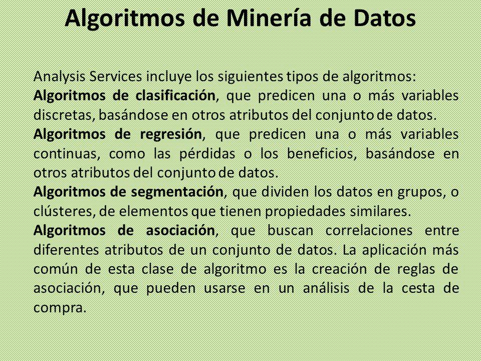 Analysis Services incluye los siguientes tipos de algoritmos: Algoritmos de clasificación, que predicen una o más variables discretas, basándose en ot