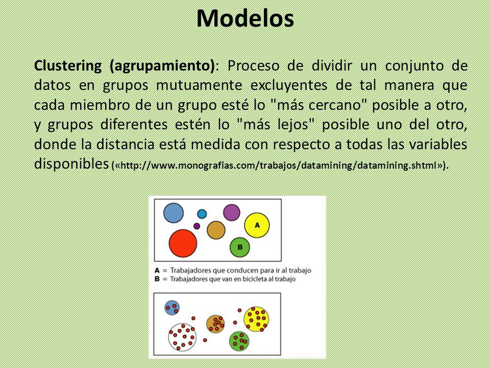 Clustering (agrupamiento): Proceso de dividir un conjunto de datos en grupos mutuamente excluyentes de tal manera que cada miembro de un grupo esté lo