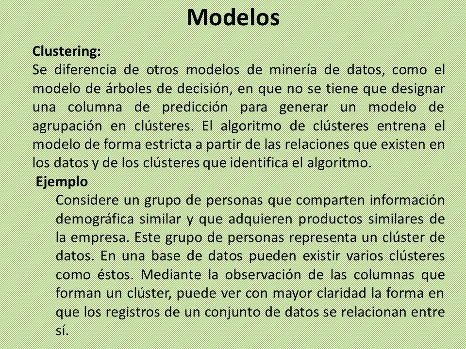 Clustering: Se diferencia de otros modelos de minería de datos, como el modelo de árboles de decisión, en que no se tiene que designar una columna de