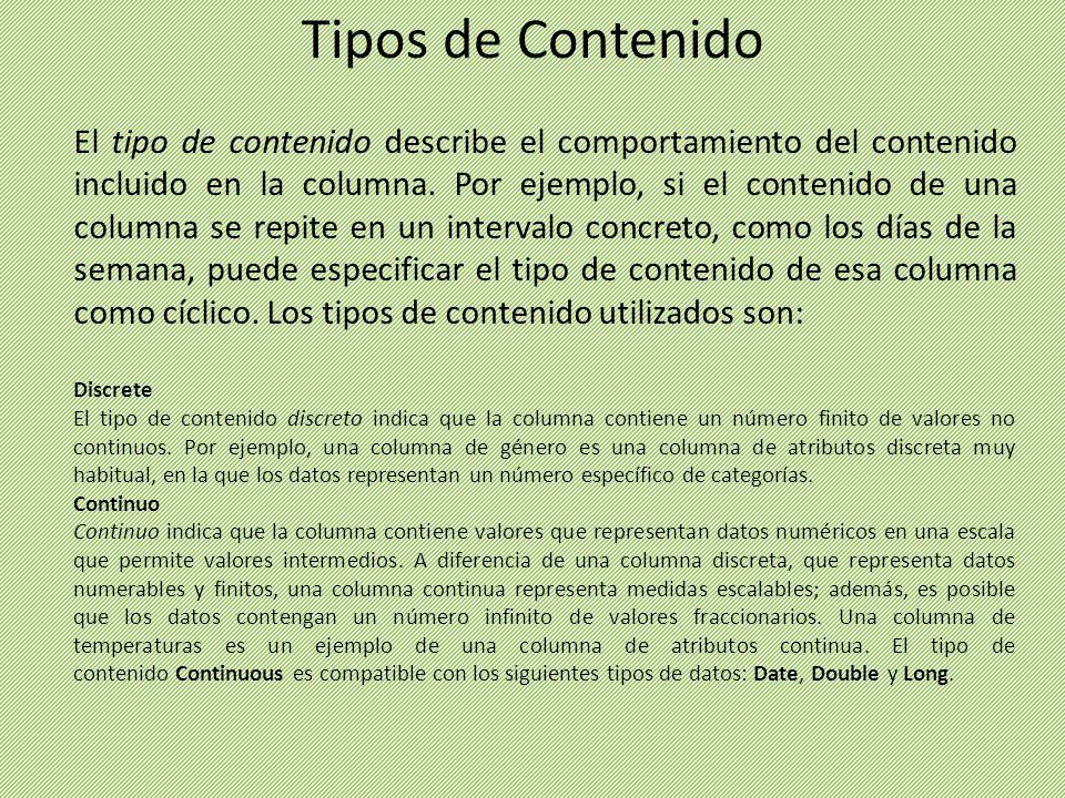 El tipo de contenido describe el comportamiento del contenido incluido en la columna. Por ejemplo, si el contenido de una columna se repite en un inte