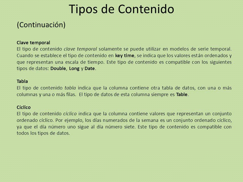 (Continuación) Clave temporal El tipo de contenido clave temporal solamente se puede utilizar en modelos de serie temporal. Cuando se establece el tip