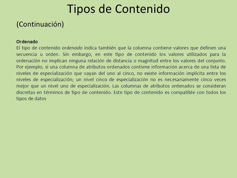 (Continuación) Ordenado El tipo de contenido ordenado indica también que la columna contiene valores que definen una secuencia u orden. Sin embargo, e